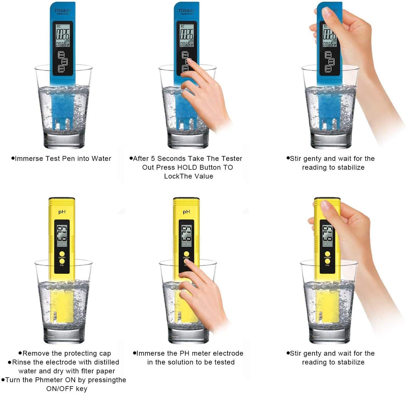 Probador De Agua TDS Digital SCOBUTY Probador De Calidad del Agua Probador de Calidad del Agua 3 en 1 Medidor de pH Digital Piscinas y acuarios Medidor de Prueba de Agua Ideal para Beber en casa