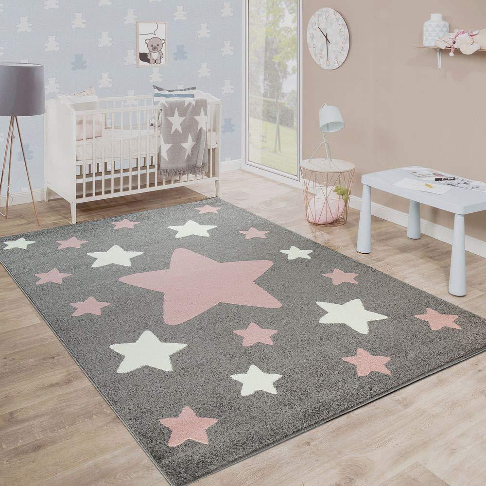 Paco Home Teppich Kinderzimmer Kinderteppich Große Und Kleine Sterne In Grau Rosa, Grösse:200x280 cm