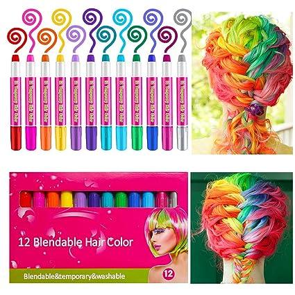 Haarkreide,Sinicyder 12 Farben Temporäre Haarkreide Set Auswaschbare und ungiftige für Kinder Mädchen,Instant Haartönung & Ge