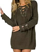 Joeoy Women's Lace Up Front V Neck Long Sleeve Knit Long Sweater Top