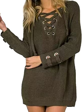 Joeoy Women s Army Green Lace Up Front V Neck Long Sleeve Knit Sweater Dress  Top- 8d00a0a66