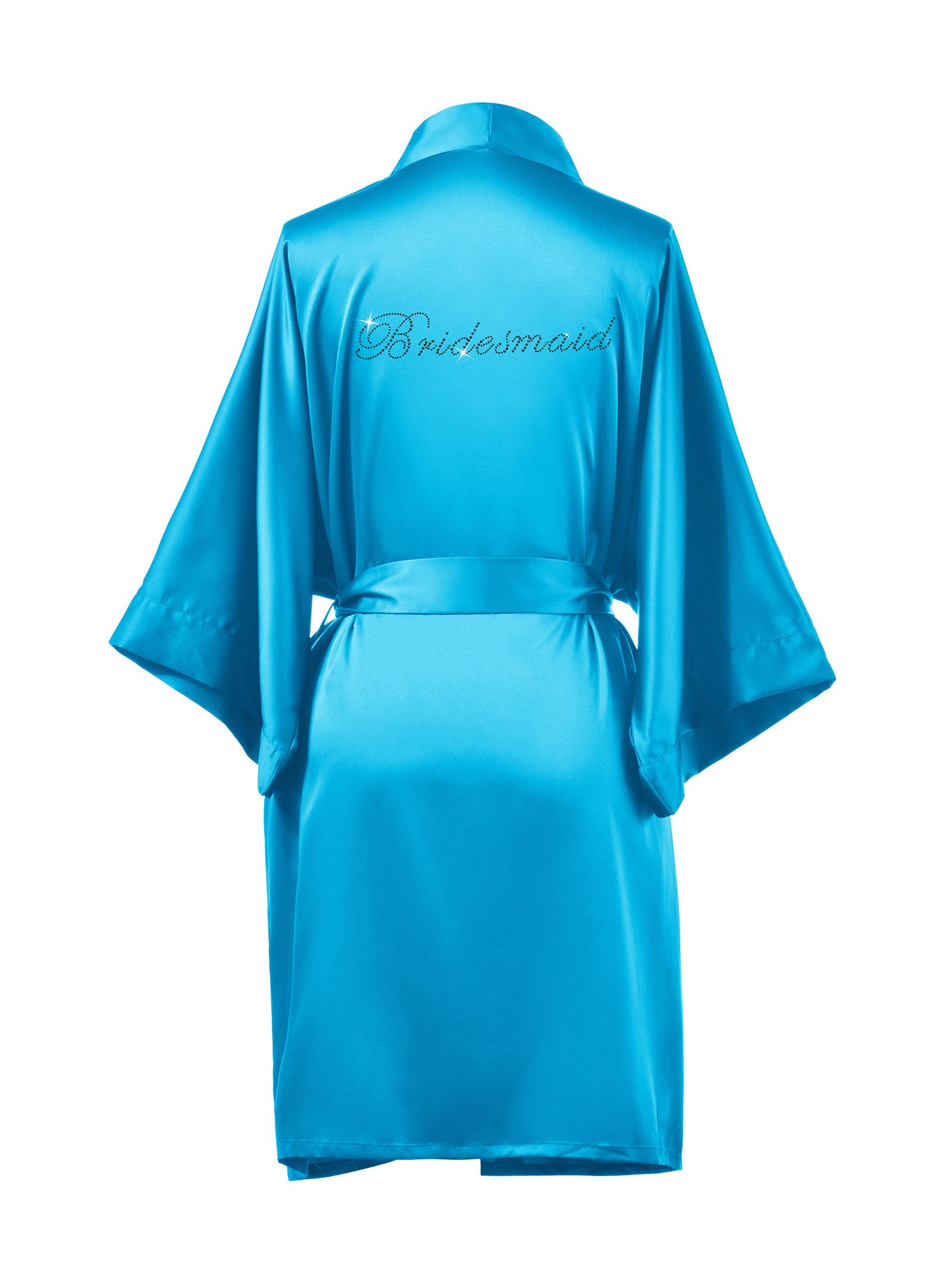AWEI Satin Bridesmaid Robes Short Bridal Robes for Bridesmaid Gifts Soft Womens Kimono Robe Sky Blue M//ZS1604CPP03A//