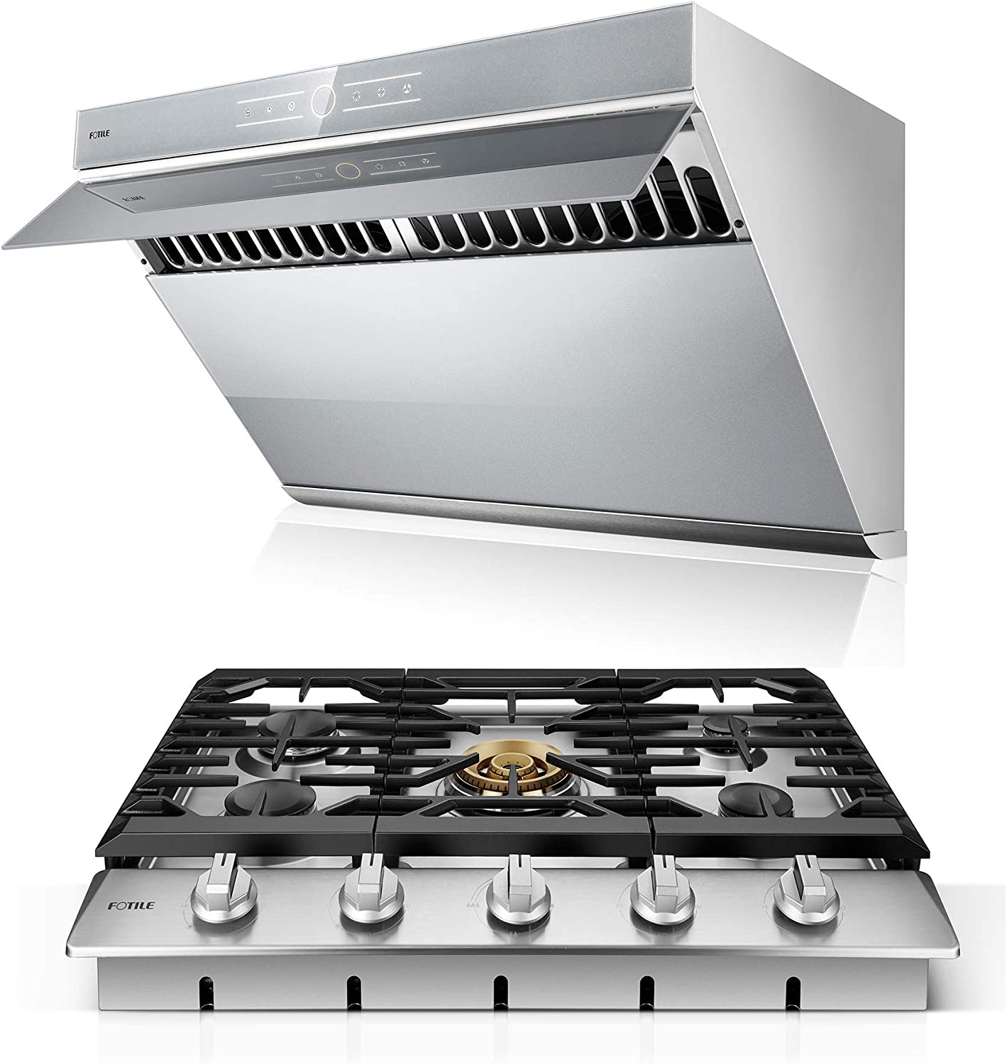 Amazon Com Fotile Range Hood Under Cabinet Kitchen Stainless Steel Wall Mount With Led Light Silver Gray Cooktop Bundle 30 Inches Appliances