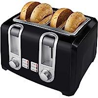 BLACK+DECKER T4569B 4-Slice Toaster, Bagel Toaster, Black