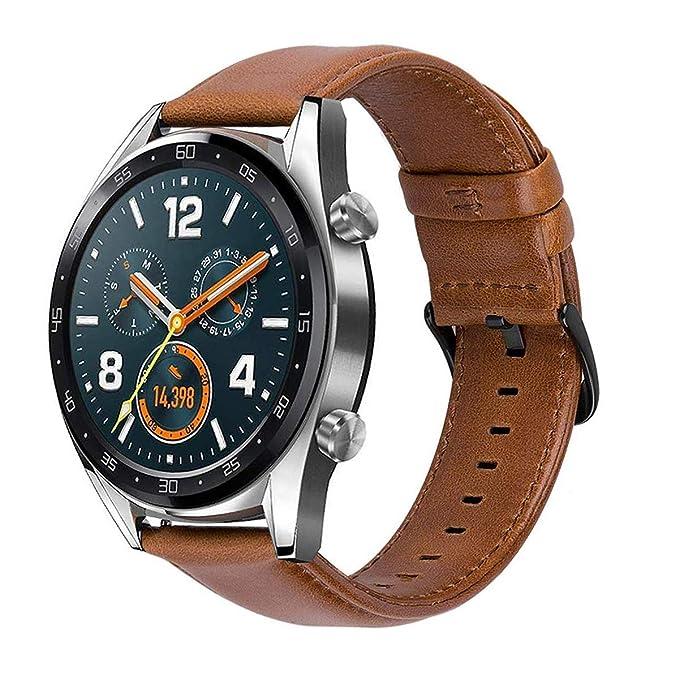 MroTech 22mm Correa Cuero Piel Compatible para Huawei Watch GT2 /GT Sport/Active/Elegant Pulsera de Repuesto para Samsung Galaxy 46mm/Gear S3 ...