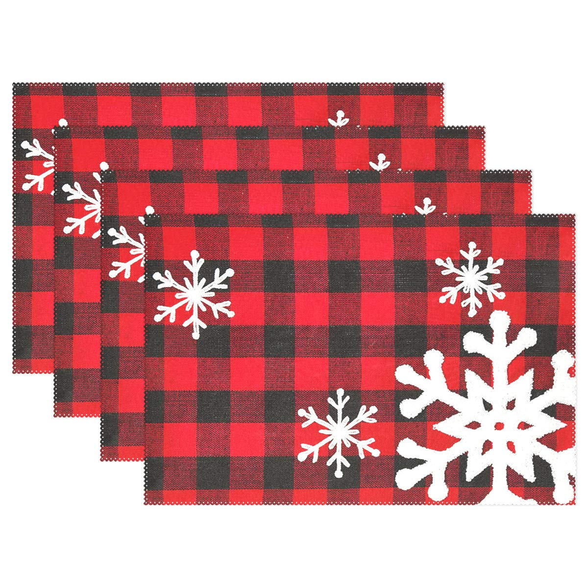 """Christmas Red Plaid Snow Snowflake Placemats Set of 6 Table Mat, Red Black Lattice Texture Table mats Placemats Heat-resistant Stain Resistant Washable for Kitchen Dining Decoration 12"""" x 18"""""""