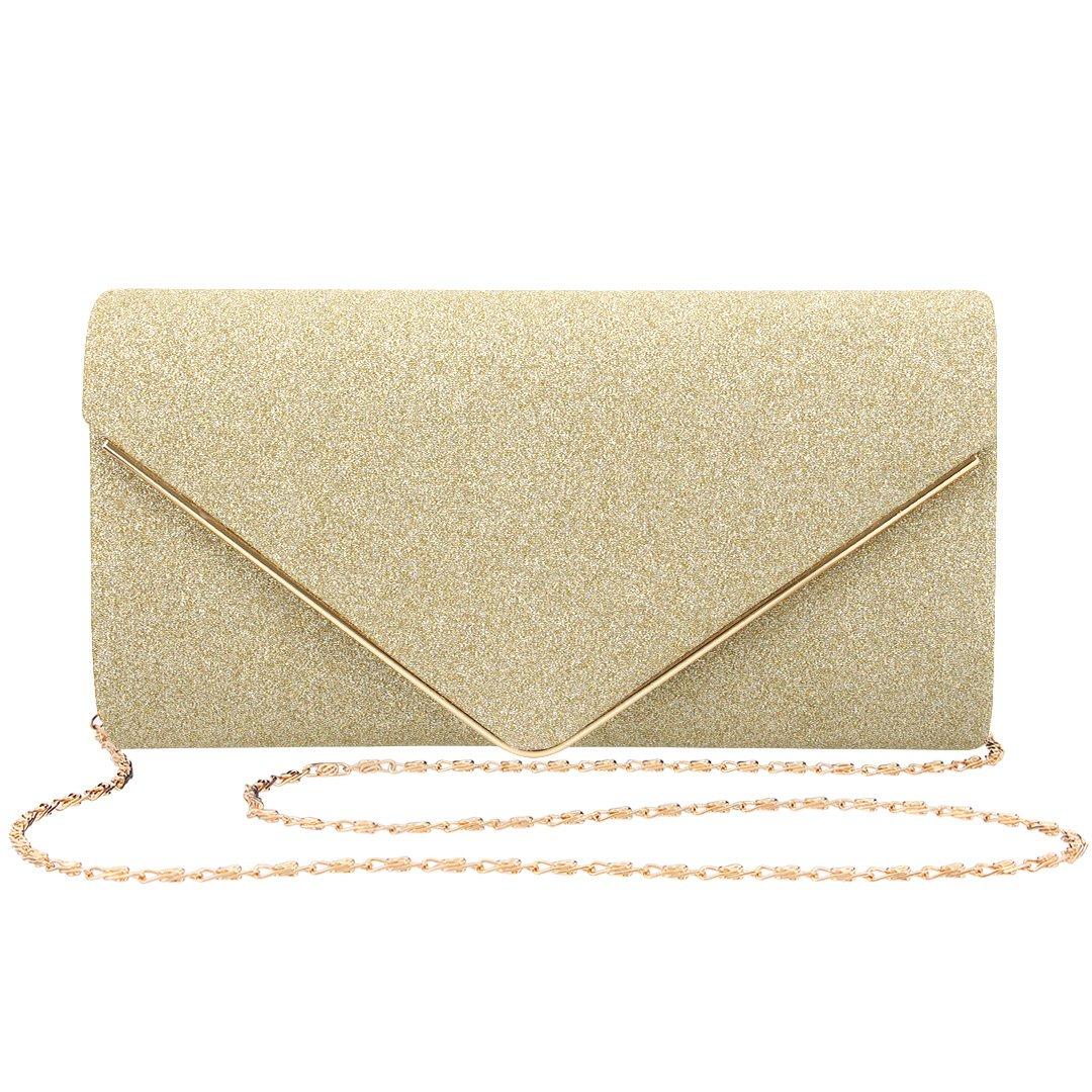 Gabrine Womens Evening Envelop Bag Handbag Clutch Purse Shiny Sequins Fabric Material for Wedding Party Prom(Gold)