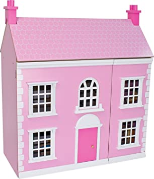 Wooden 3 Storey Dolls House Pink Amazon Co Uk Toys Games