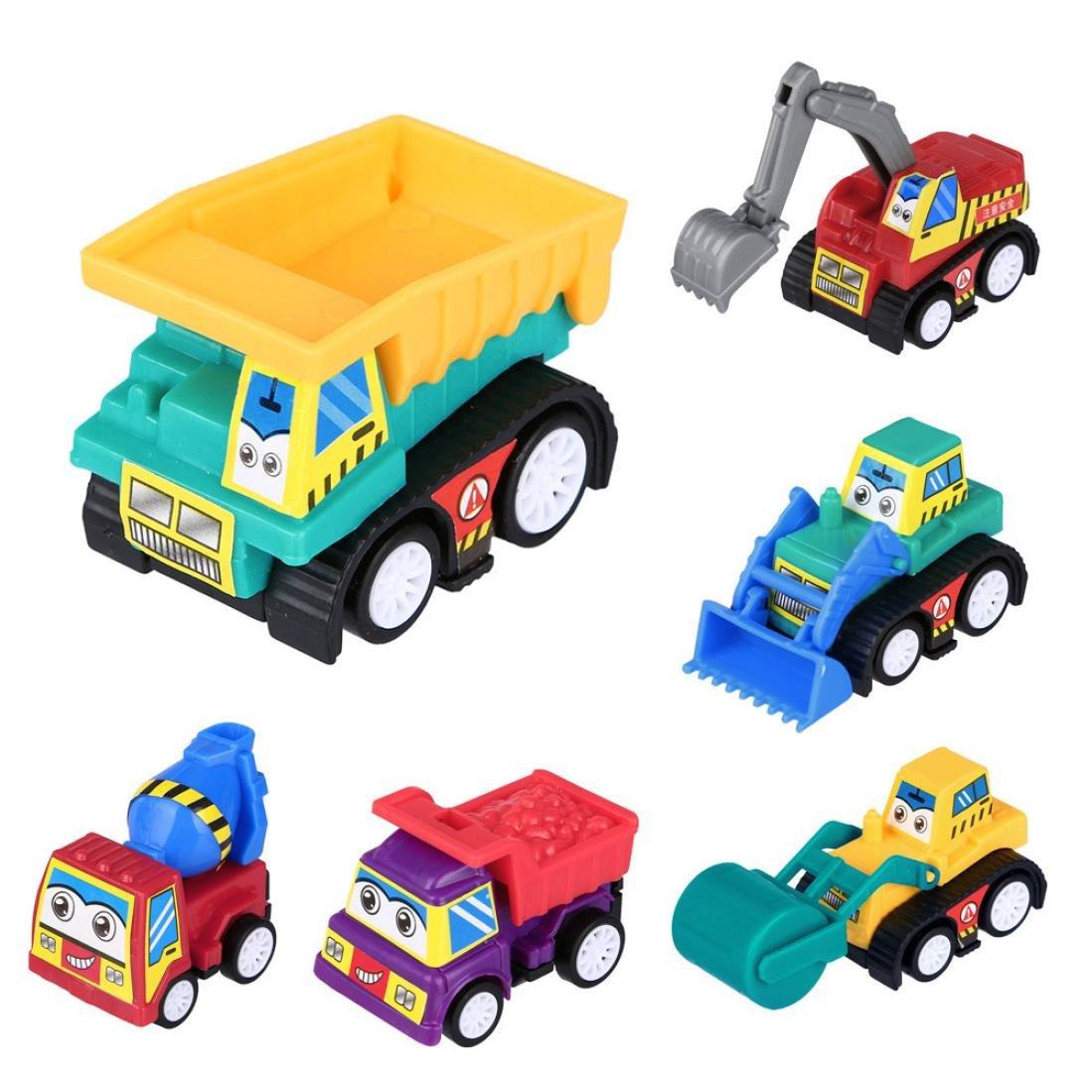 Mamum 6 PCS Baby Mini Engineering Car Toy, 6 PCS Baby Kids Cute Twist Forward Movement Engineering Car Educational Toys