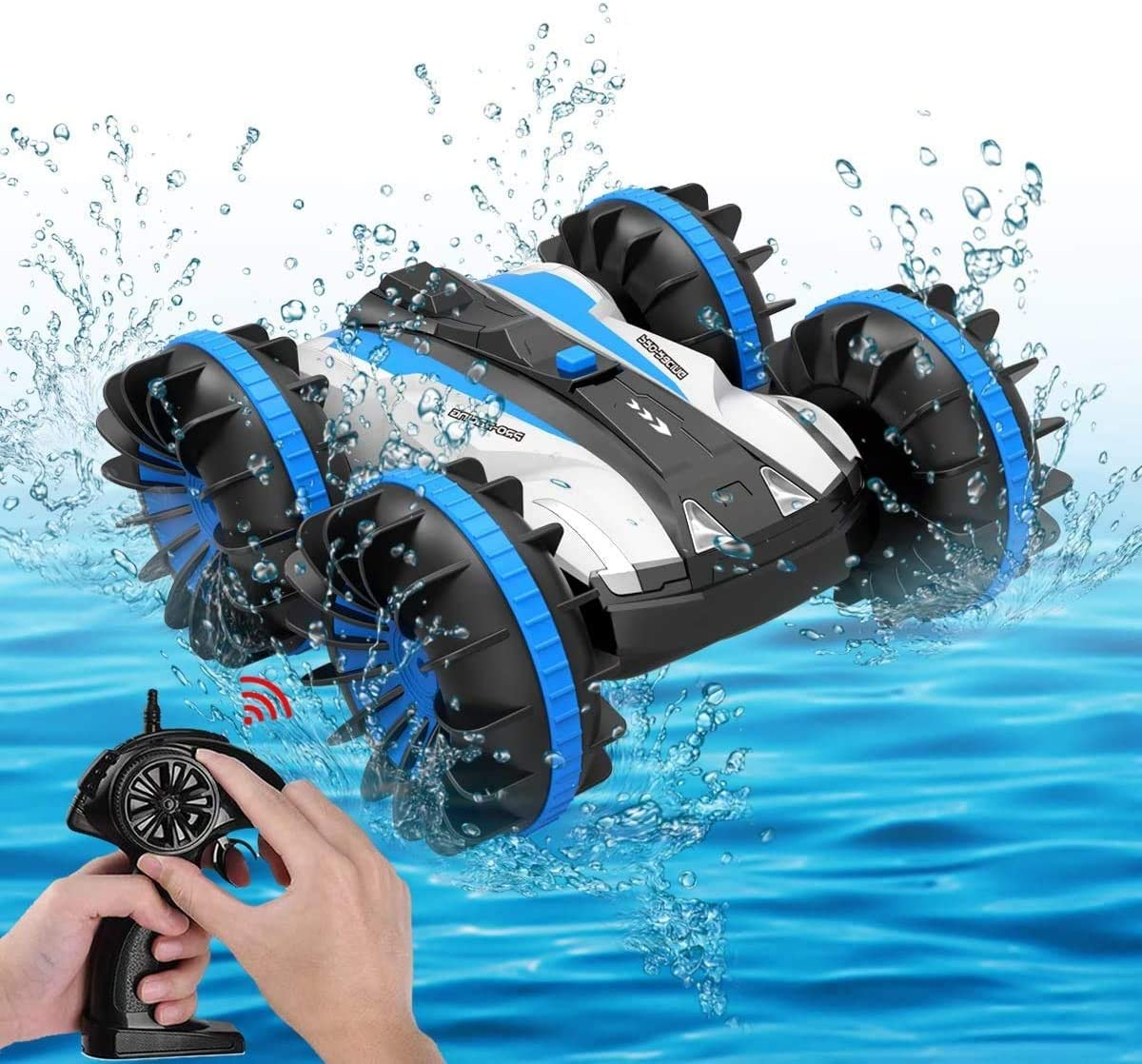 RC Car Boat Waterproof Remote Control 4WD 6CH 2.4G all Terrain RC Vehicle 1 16 Scale Double Sides Stunt Vehicle