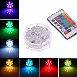 Submersible LED Lights,10Leds RGB Multi Color Waterproof Remote Control Battery Powered (1 PACK)