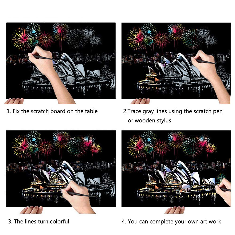 16 X 11.2 Inches Scratch Art Paper Rainbow Painting Sketch Pad DIY Scenery View Scratchboard for Adults and Kids 4 Packs