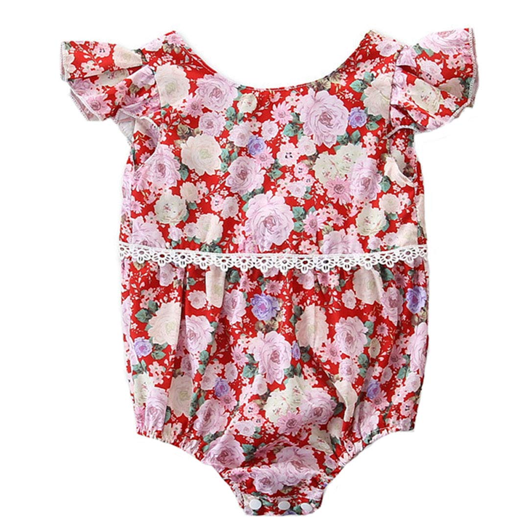 KUKEONON Infant Baby Girls Summer Floral Triangle Romper Lace Backless Bodysuit