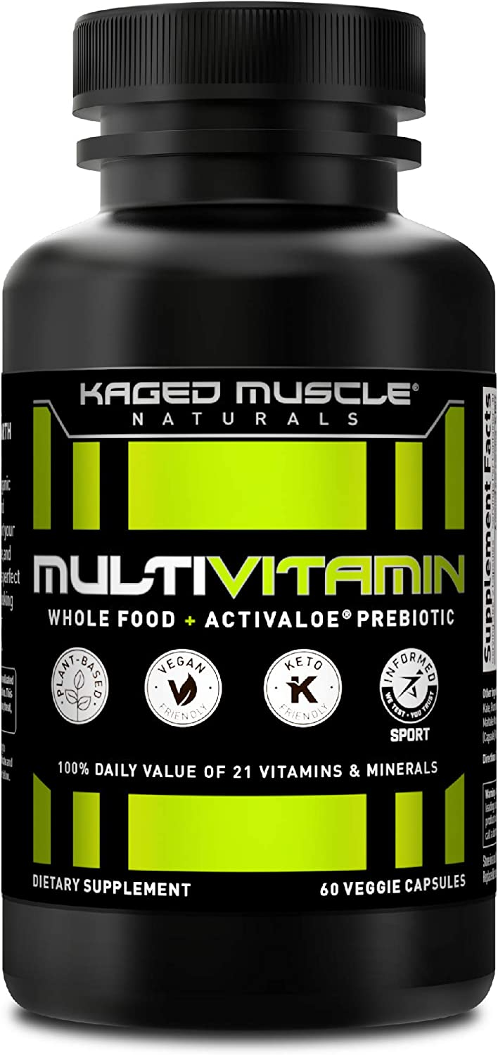 Whole Foods Multivitamin, Kaged Muscle Multivitamin Made with Organic Fruits & Veggies, Plant Based Vegan Multivitamin for Women and Men with Vitamin C, Vitamin D, Vitamin E, Vitamin B12, 60 Count