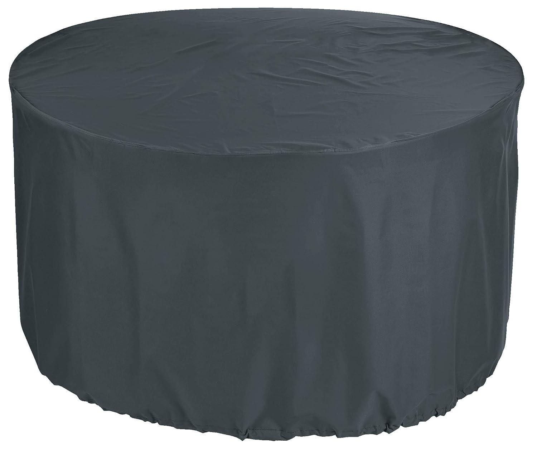 KaufPirat Premium Abdeckplane Rund Ø 150x90 cm Anthrazit Gartenmöbel Gartentisch Abdeckung Schutzhülle Abdeckhaube Outdoor Round Patio Table Cover