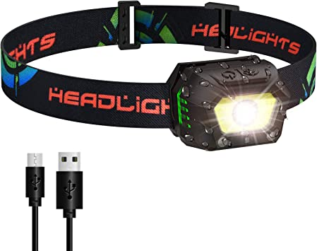 VBIGER Linterna Frontal LED USB Recargable, Linterna Cabeza Brillante 5 Modos Sensor de Movimiento, Linternas LED IPX5 Impermeable para Camping ...