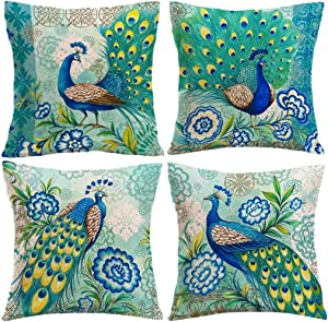 """7COLORROOM Set of 4 Vintage Style Peacock Throw Pillow Cover with Flower &Green Leaves Cushion Cover Cotton Linen Home Decors Square Pillowcases 18""""X18"""" for Couch/Sofa/Bedroom (Peacock)"""