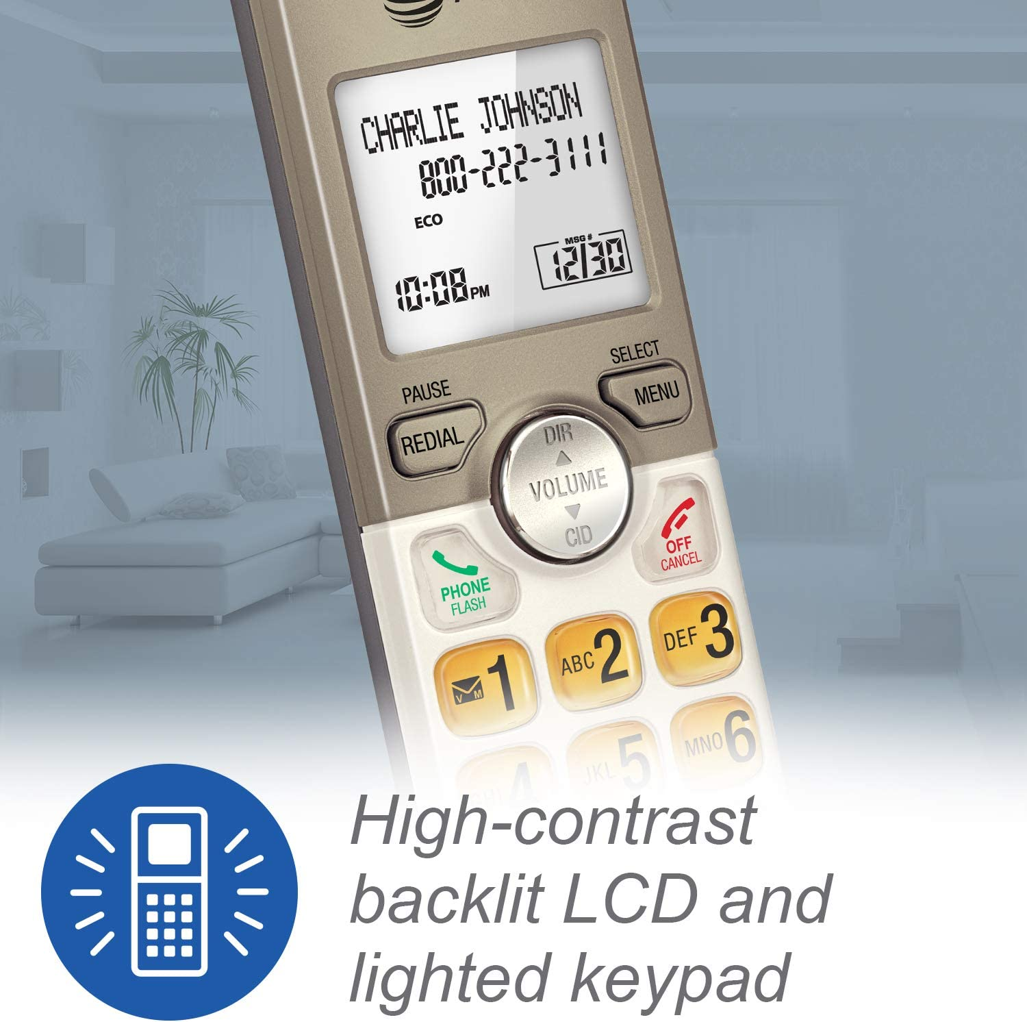 Silver 2 Cordless Handsets AT/&T EL51203 DECT 6.0 Phone with Caller ID//Call Waiting