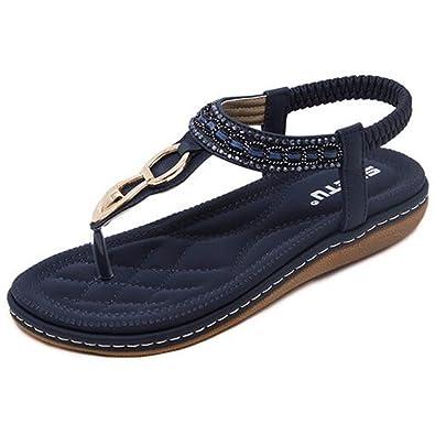 SUNAVY Damen Bling Strass Knöchelriemchen Sandalen,Böhmen Flache Sommer Strand Schuhe mit Metall Knopf Dekoration,Blau,EU43