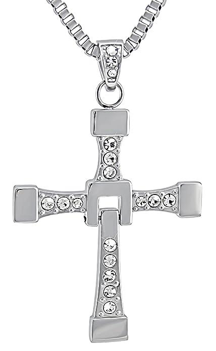 Hanessa puro acero inoxidable casi and Furious Vin Diesel Cruz-cadena con colgante de cruz regalo Hombre para hombre