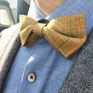 Corbata Hombre Mori Retro Versión amarilla de la tela escocesa ...