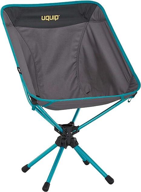 Uquip Silla Plegable Three Sixty - Silla de Camping Ligera con Innovador Sistema Giratorio de 360°, Color Gris