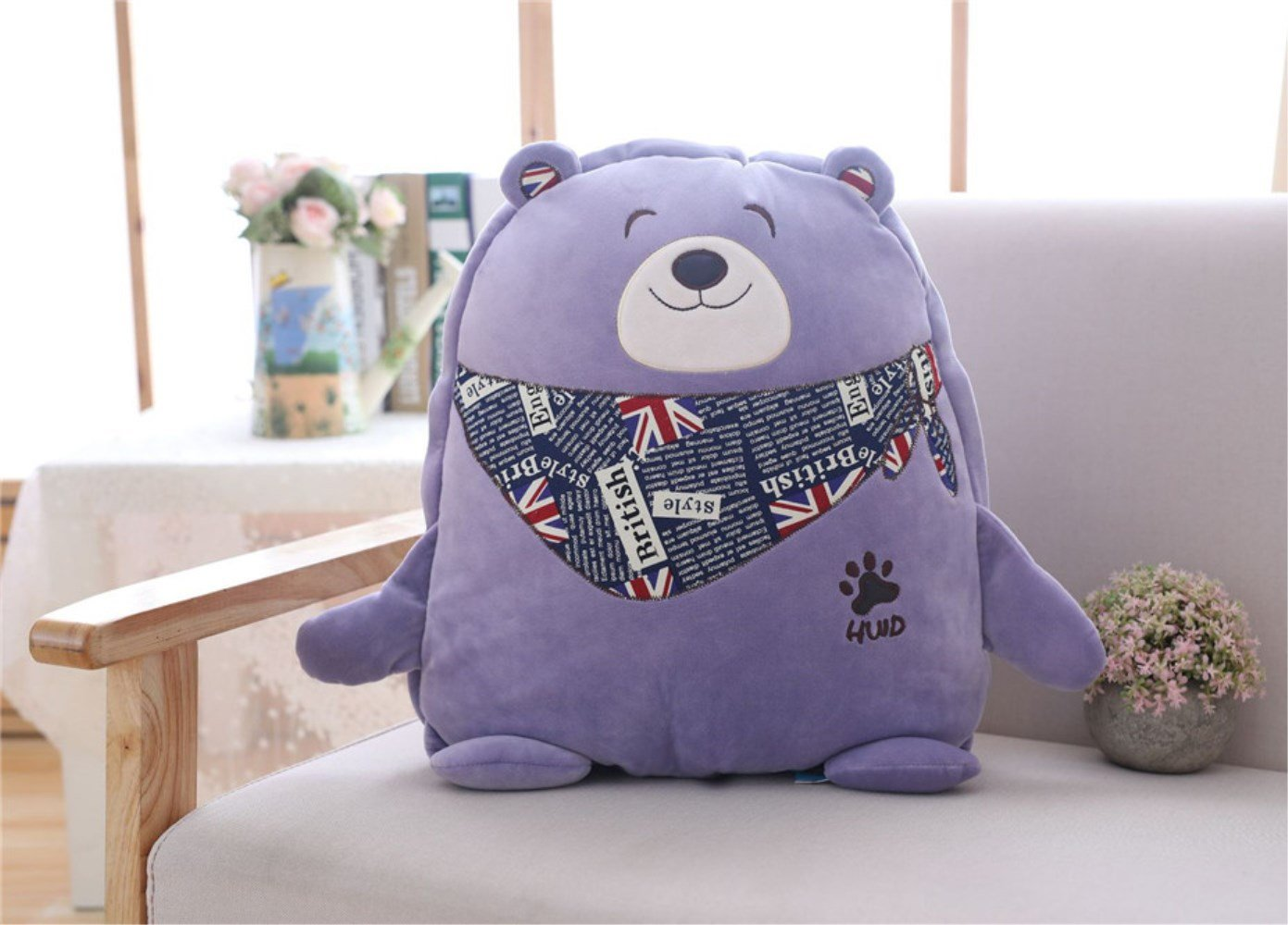 WDA Cute Stupid Bear Pillow Quilt Dual-use Plush Toy Doll Lunch Break Air Conditioning Blankets (purple)