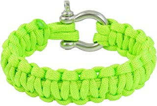 Extérieur en acier inoxydable manille Bright Green Survival Bracelet