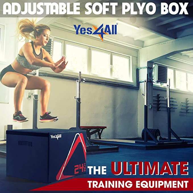 Plyometric Box Stackable Soft Plyo Set 4 Different Heights Jump Gym Workout Step