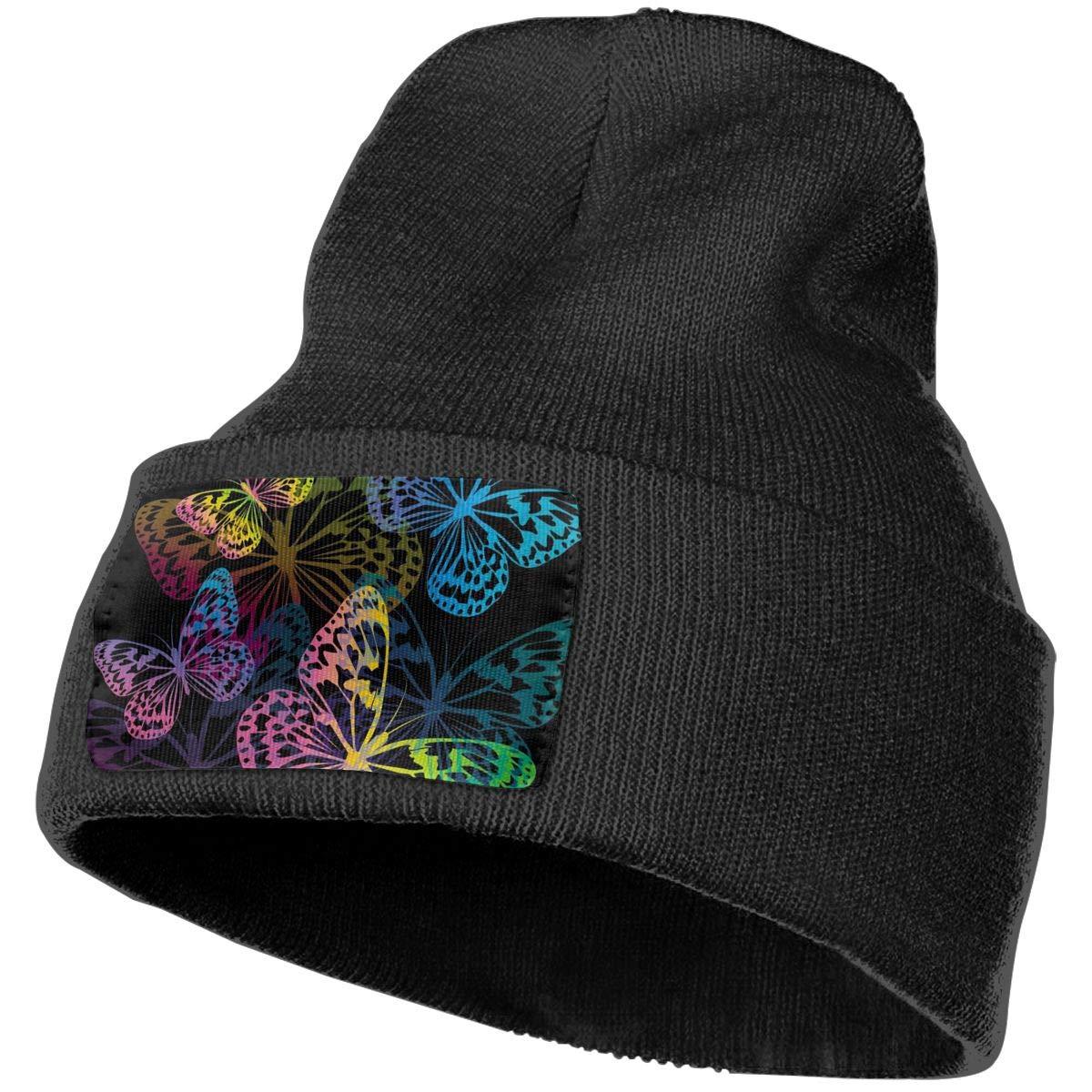 Field Rain Butterfly Unisex 100/% Acrylic Knit Hat Cap Rider Soft Beanie Hat Woolen Hat