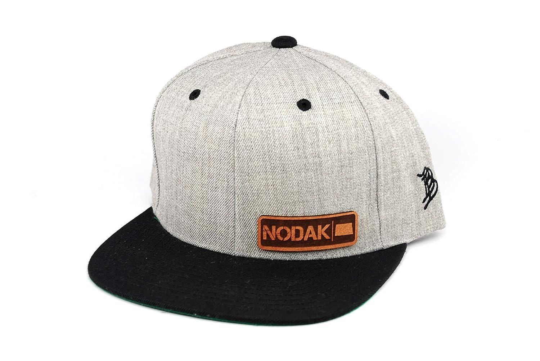 OSFA//Heather Grey//Black Branded Bills /'North Dakota Native Leather Patch Snapback Hat