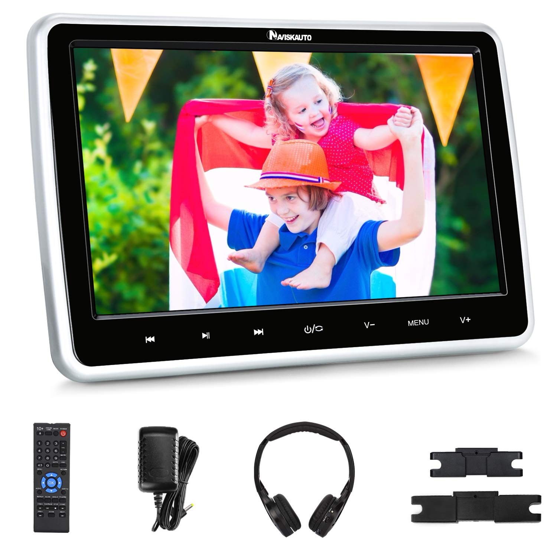 "NAVISKAUTO 10.1"" Car DVD Player with Wireless Headphone Support HDMI Input, 1080P Video, Sync Screen, AV Out & in, FM IR, Last Memory, USB SD"