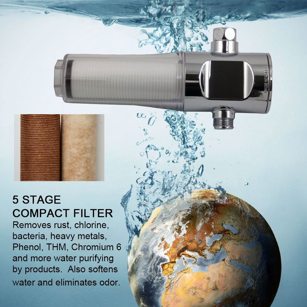 Inline Shower Filter Assembly by Sonaki - Use your current showerhead - Activated Carbon Fiber Filter - Anti-Bacterial, Removes Heavy metals and Chlorine by SONAKI Rich & Luxury Shower Systems (Image #4)