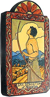 product image for Modern Artisans San Sebastian Patron Saint of Athletes and Archery Handmade Retablo Plaque, 3.5 x 6.5 Inches