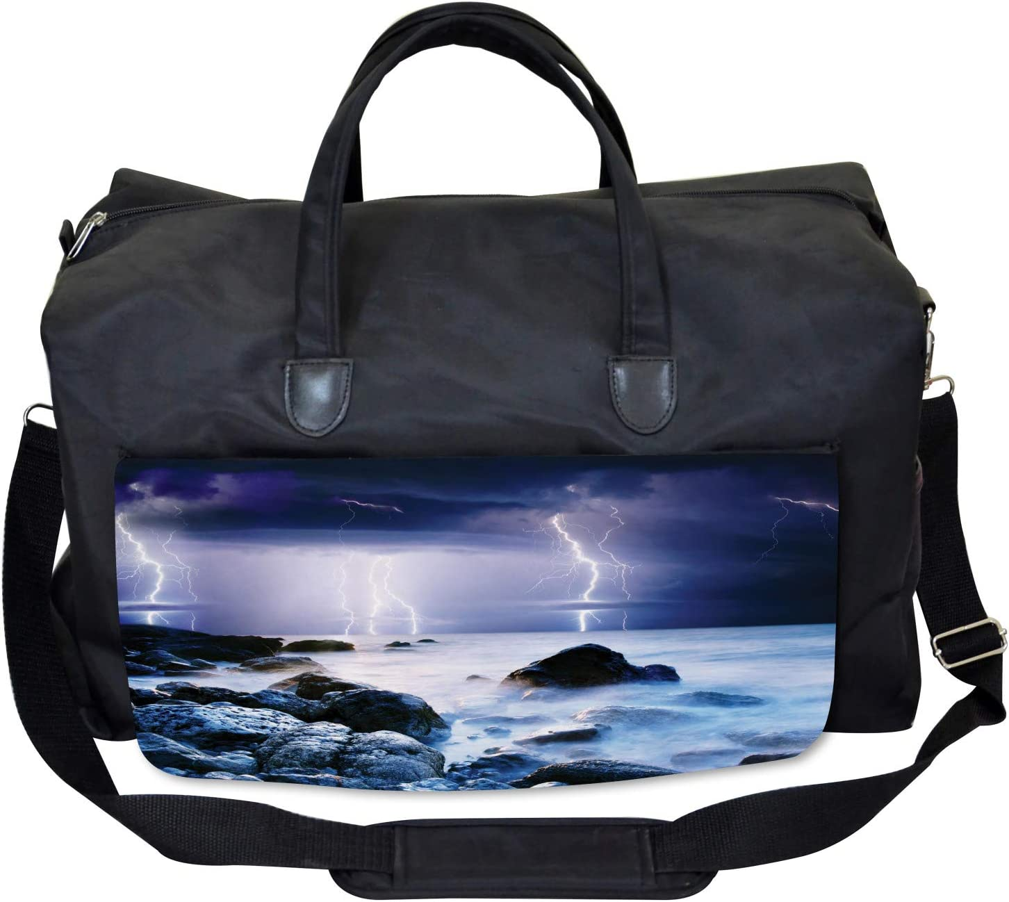 Stormy Weather in Summer Large Weekender Carry-on Ambesonne Nature Gym Bag