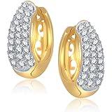 Meenaz Sterling-White Silver Hoop Earring For Women - B110