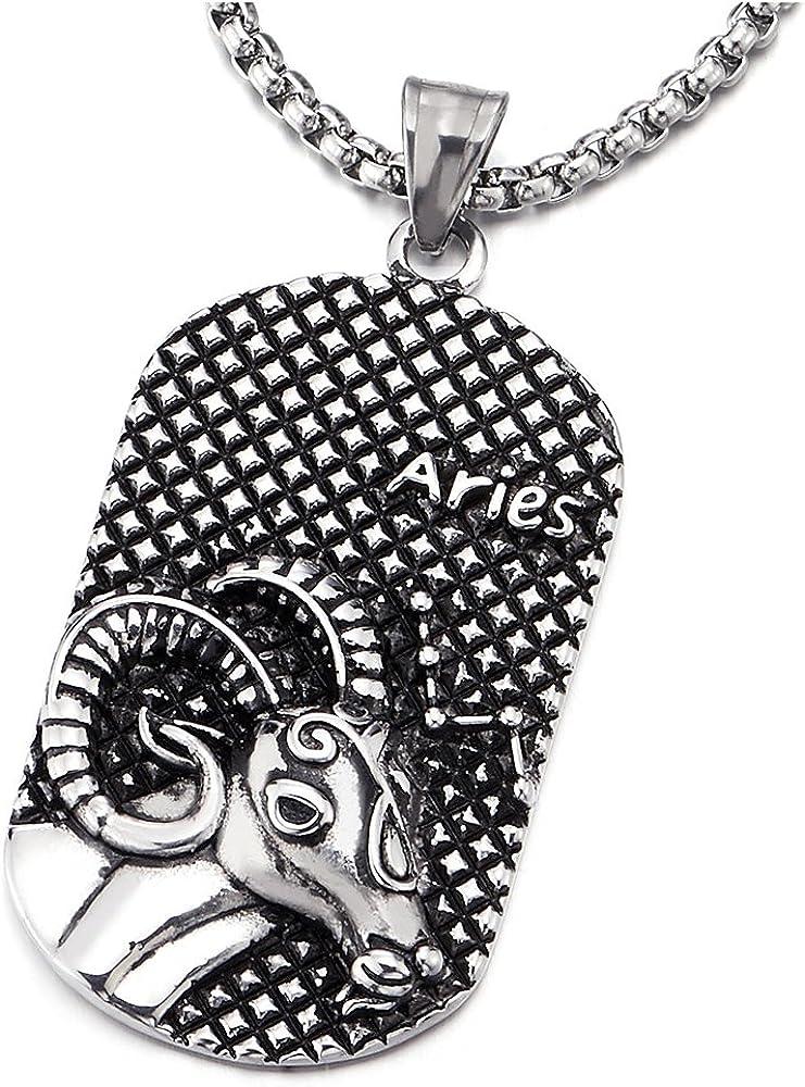 COOLSTEELANDBEYOND Vintage Mens Women Steel Horoscope Zodiac Signs Dog Tag Pendant Necklace, Twelve Constellations