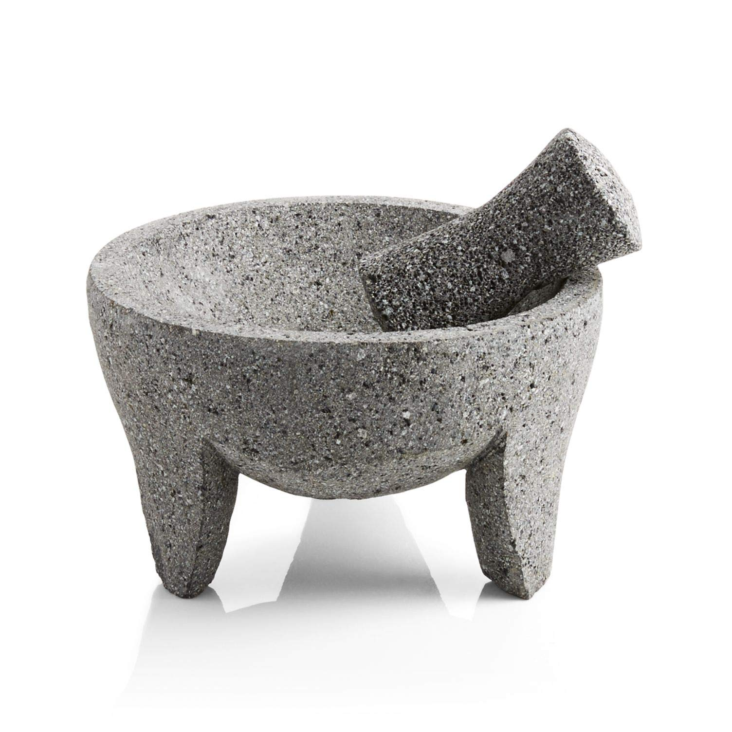 Authentic Mexican Volcanic Lava Rock Molcajete. Handmade Eight inch Large Mortar and Pestle. by Spice Bay Foods