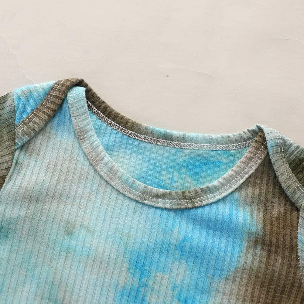 Miyanuby Baby Girls Boys Long Sleeve Tie-dye Sweatshirt Romper Sleepwear Pyjama Bodysuit Shirts Pants Clothes Set