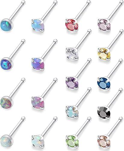 Body Piercing Jewelry Sterling silver nose stud  nose screw 20 g Evil Eye Nose Stud Jewelry Nose Stud 18g Body Jewelry