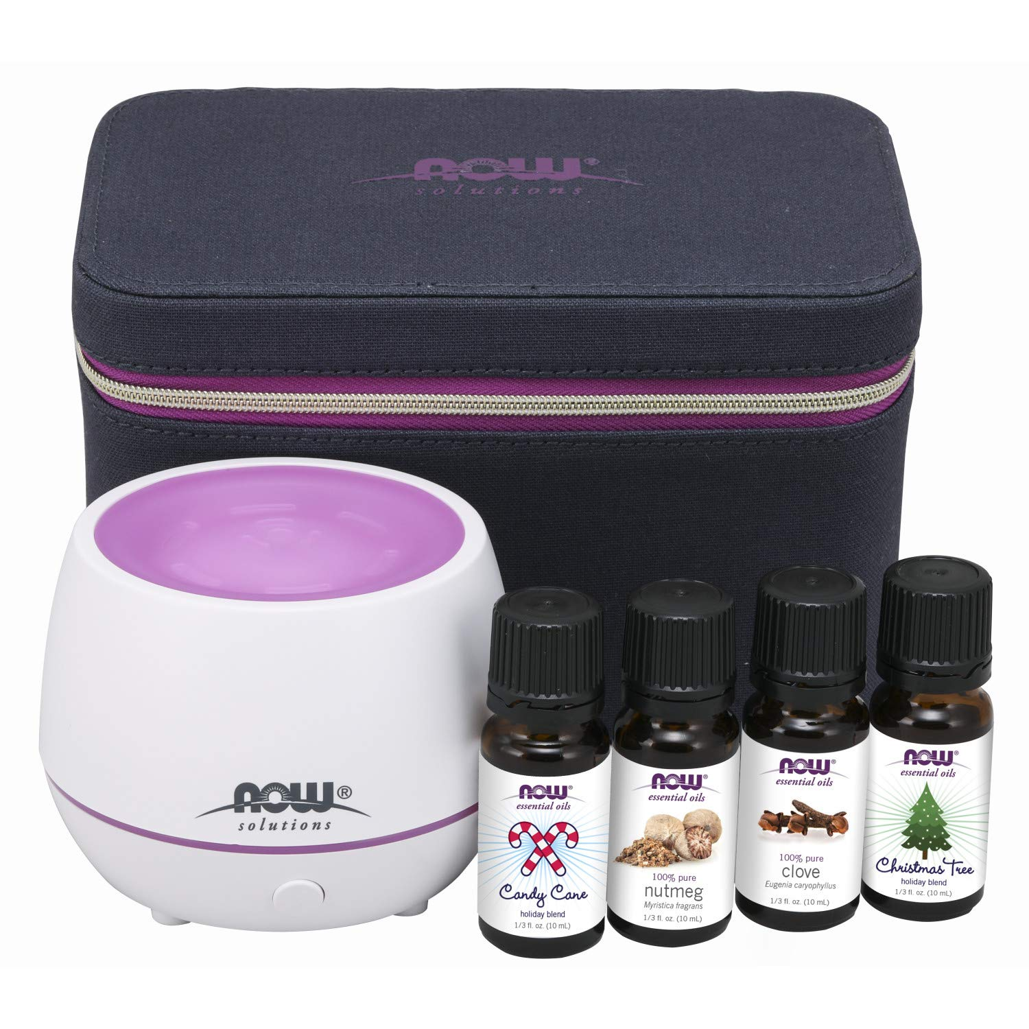 NOW Essential Oils, Holiday Cheer Aromatherapy Kit, Mini Diffuser With 4-10 mL Bottles and Child Resistant Caps