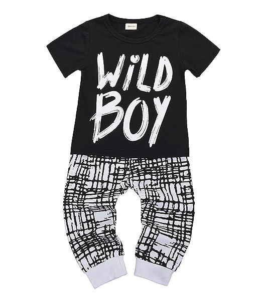 Amazon.com: MILWAY Bebé Niños Ropa Manga Larga Wild Boy ...