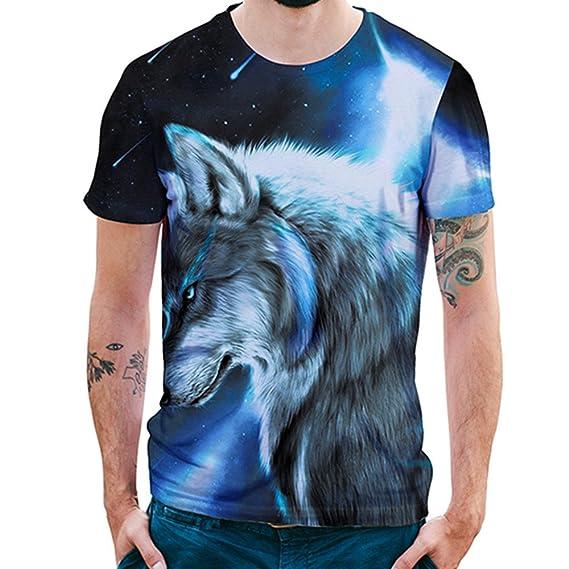 online store 4c712 66533 FRAUIT Herren Mode T-Shirt mit 3D Wolf Aufdruck für Männer ...