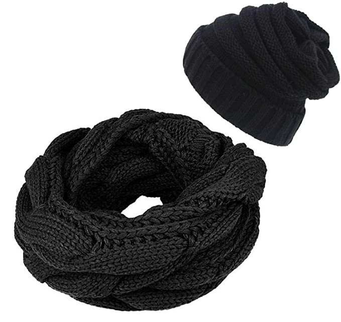 4b9ea8a4e06 Infinity Scarf and Beanie Hat Set Winter Thick Circle Loop Scarves &  Slouchy Hats for Men Women
