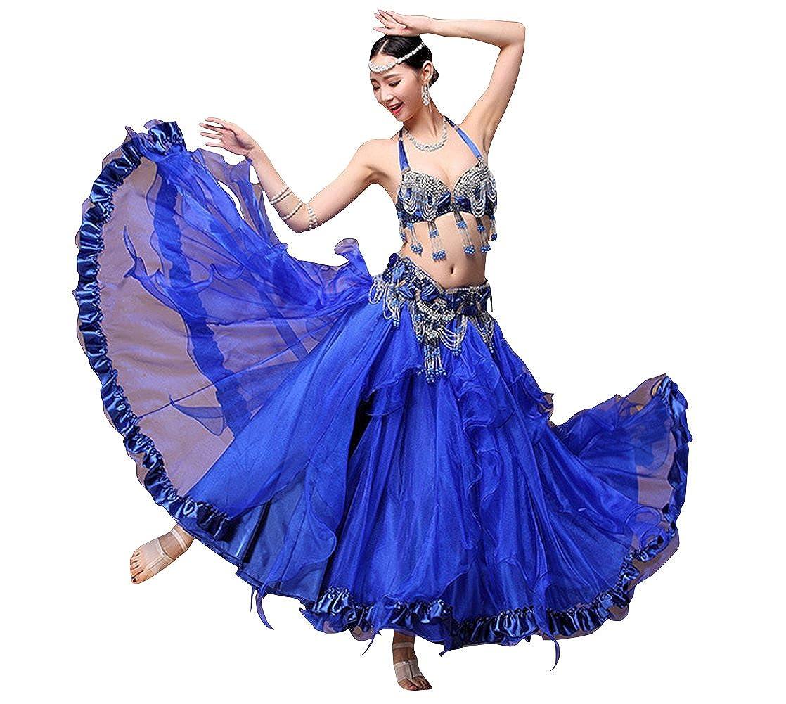 RIKOUZY 豪華なベリーダンス衣装3点セット ビーズ刺繍プロ仕様ダンス服 高級演出服 ブラジャー スカート 腰ベルト コスチューム ブルー M
