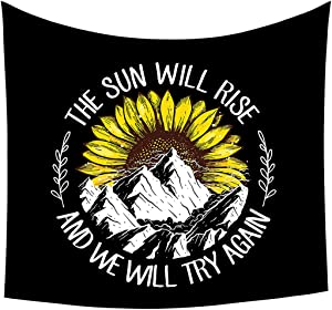 """Moosth Tapestry Wall Hanging for Bedroom Black and White Mountain with Sunflower Room Decor (59.1"""" x 59.1"""")"""