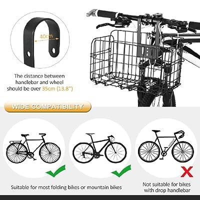 Lixada Bicycle Front Basket Foldable Bike Handlebar Basket Removable Cycling