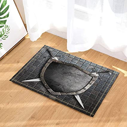 Amazon Com Gohebe Ancient Stone Decor Medieval Shield With Crossed Swords On Brick Wall Bath Rugs Non Slip Doormat Floor Entryways Indoor Front Door Mat Kids Bath Mat 15 7x23 6in Bathroom Accessories Garden