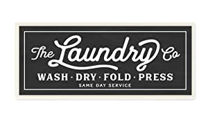 The Stupell Home Decor Collection Vintage Laundry Sign Cursive Typography Wall Plaque Art, 7 x 0.5 x 17, Proudly Made in USA - wrp-1149_wd_7x17