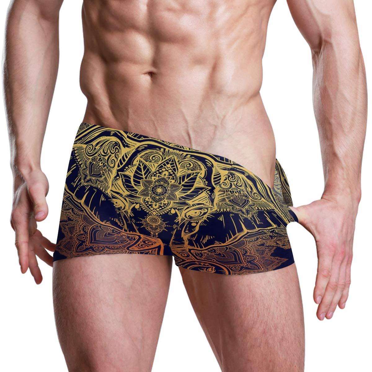 Floral Paisley Elephant Ethnic Mens Swimming Boxer Briefs Trunks Square Leg Swim Trunks Board Shorts